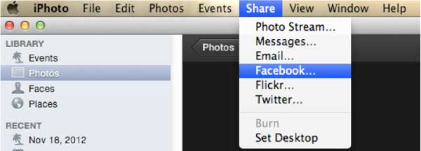 how to share photo from iphoto to facebook