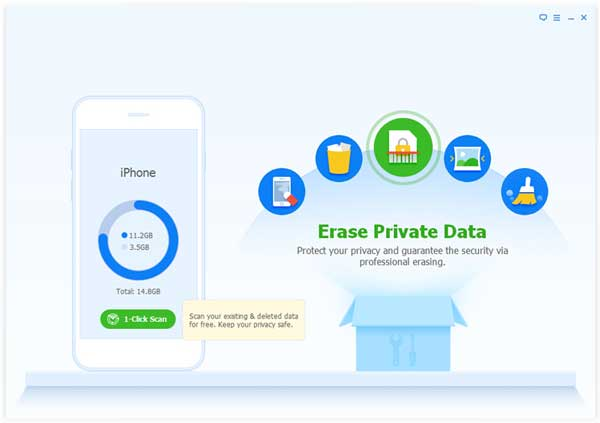 choose erase private data mode to delete undeletable photos on iphone