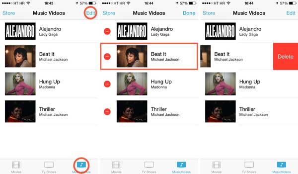 how to delete music videos from iphone
