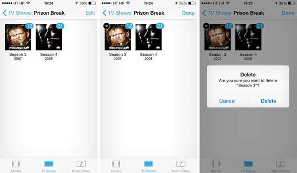 how to remove tv shows from iphone all at once