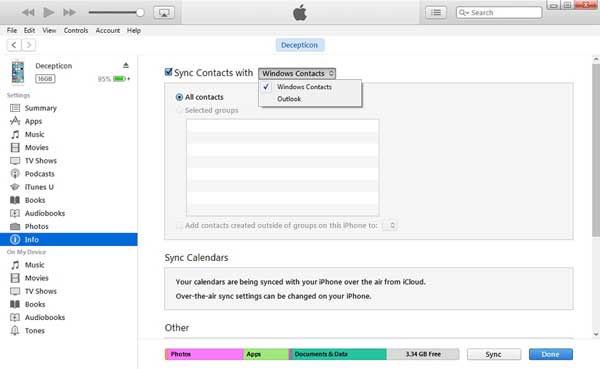 transfer contacts from ipad to iphone via itunes