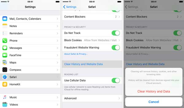 clear safari history on  iphone to fix safari running slow on iphone