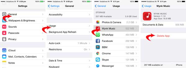 how to delete apps on iphone from settings