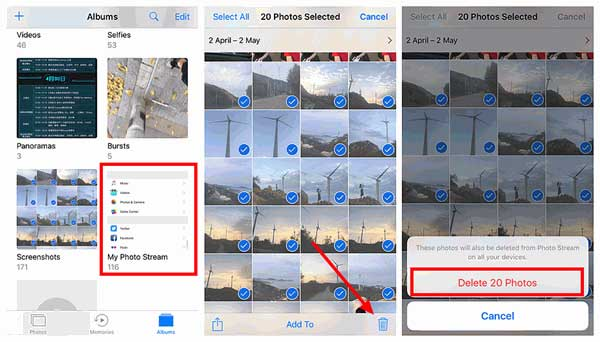 how to delete photos from photo stream