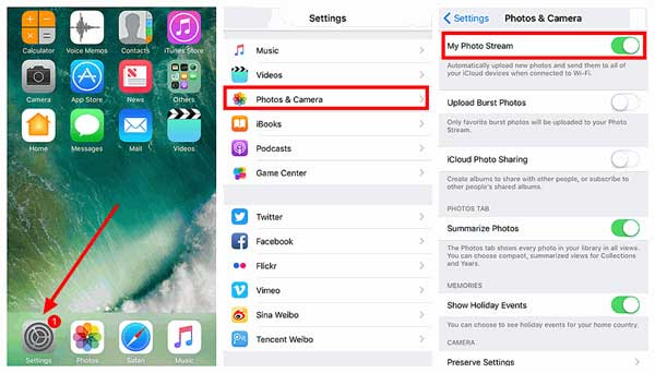 how to enable photo stream on iphone or ipad