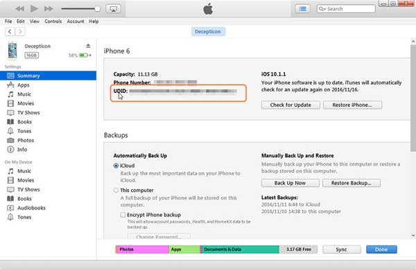 how to find iphone udid with itunes