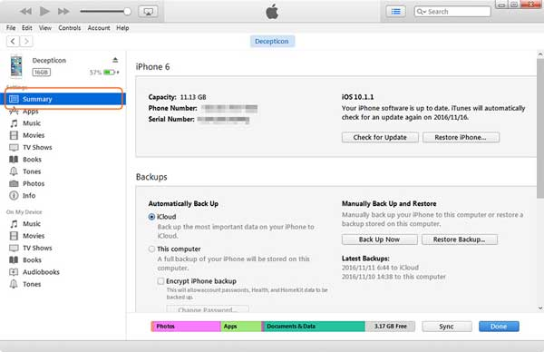 how to transfer data from iphone to laptop via itunes