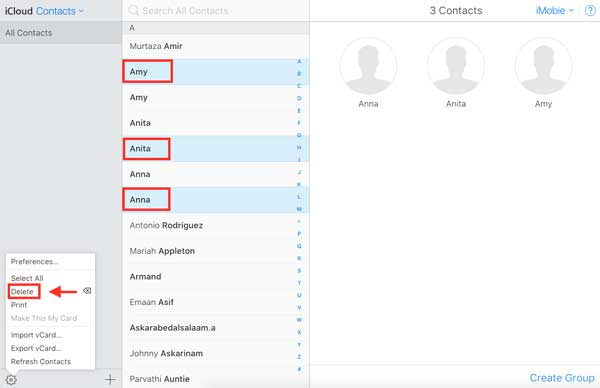 how to delete duplicate icloud contacts
