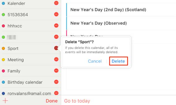 how to delete icloud calendars