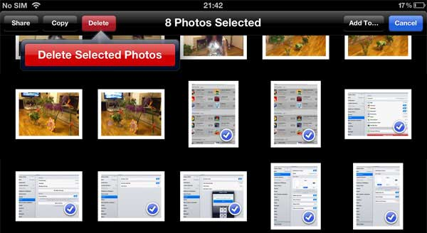 how to delete photos from ipad