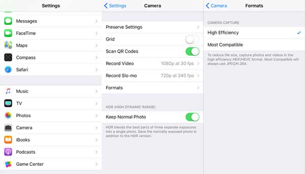 how to disable heif image format on iphone and ipad