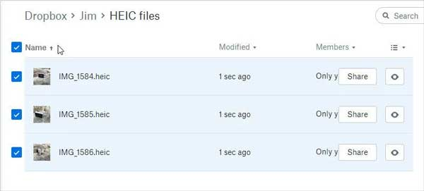 how to view heic images on android via dropbox