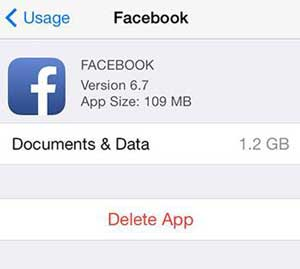 claer facebook caches on iphone from settings app