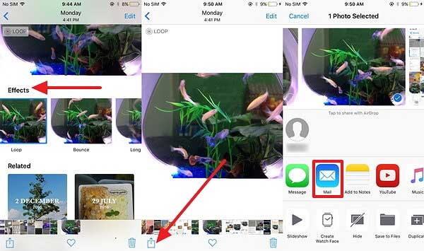 how to share live photos as gifs on iphone
