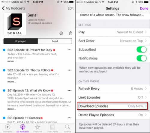 how to prevent podcasts from automatically downloading