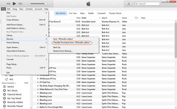 transfer podcasts from iphone to computer with itunes
