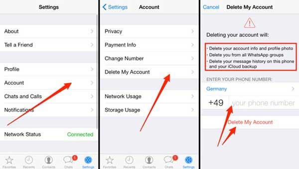 how to delete whatsapp account on iphone
