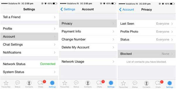 how to block whatsapp contacts on iphone