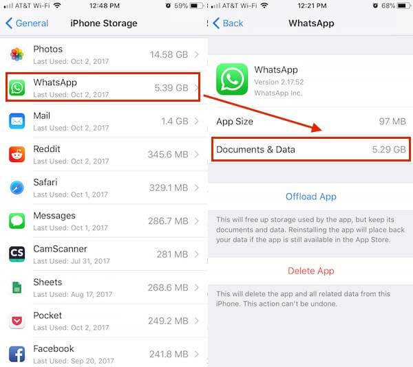 check whatsapp documents data on iphone