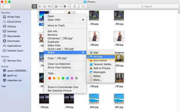 airdrop files with context menu