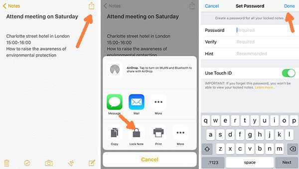 how to lock notes on iphone notes app