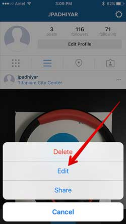 delete instagram photo on iphone