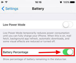 enable iphone battery percentage