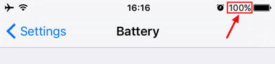 show iphone battery percentage