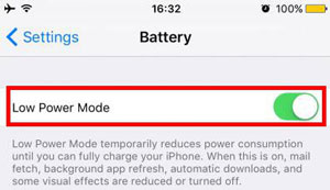 enable low power mode on iphone
