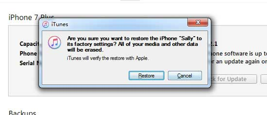 restore iphone to fix iphone white screen of death in itunes