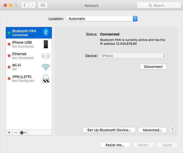 connect to hotspot via bluetooth on mac