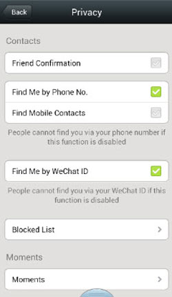 apply wechat privacy settings on iphone