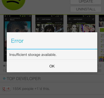android insufficient storage available