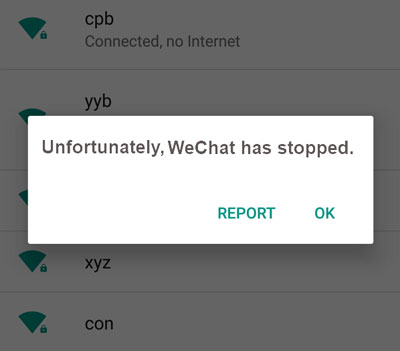 wechat has stopped