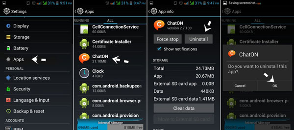 uninstall apps on android