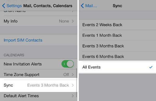 show all calendar events to solve iphone calendar not syncing
