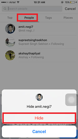hide instagram search history