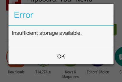 insufficient storage available on android