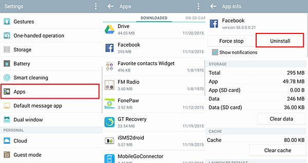 how to free up space on samsung tablet via uninstalling app
