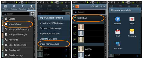 copy contacts between samsung with bluetooth