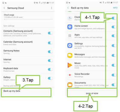 how to make samsung cloud backup