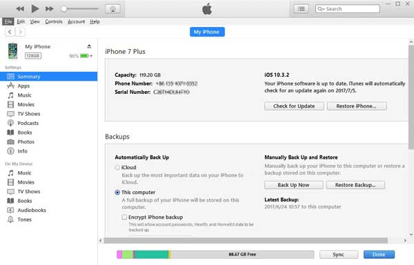 backup iphone data to itunes