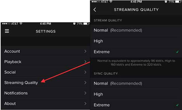 reduce spotify streaming quality