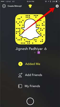 tap snapchat settings icon