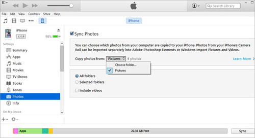 how to transfer photos from iphone to iphone via itunes