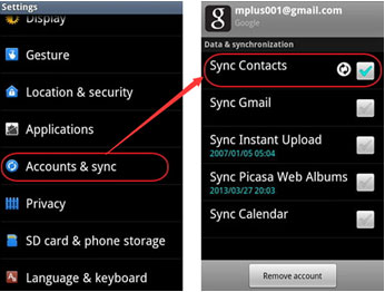 sync contacts to android