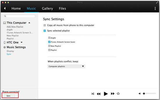 sync itunes music to htc