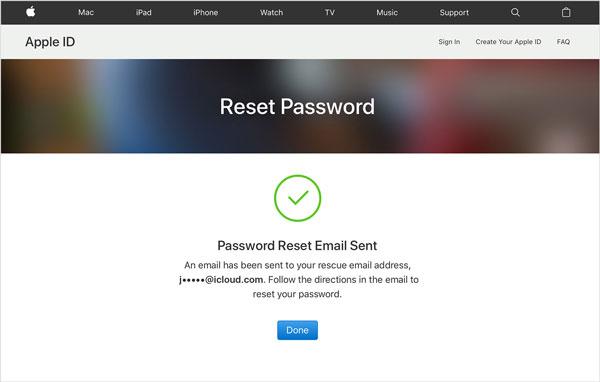 change icloud password via email