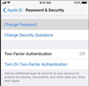 change icloud password on ios device