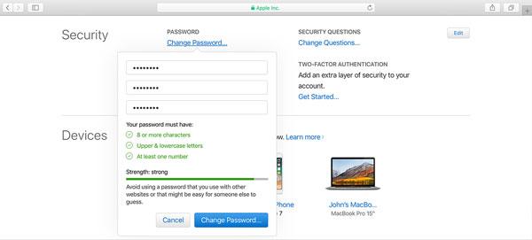 change icloud password on mac
